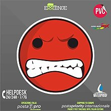 [ERREINGE] STICKER KONTUR-AUFKLEBER 35cm - Smile Angry Wütend Face Emoticon - Aufkleber Decal Transfer Vinyl Wandaufkleber Laptop Auto Motorrad Helm Camper