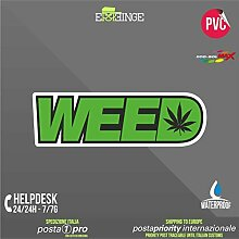 [ERREINGE] STICKER KONTUR-AUFKLEBER 35cm - Weed Marihuanablatt Lustig - Aufkleber Decal Transfer Vinyl Wandaufkleber Laptop Auto Motorrad Helm Camper