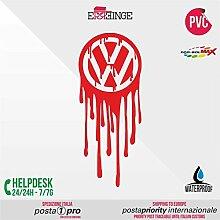 [ERREINGE] STICKER PRE-SPACED rosso 35cm - Volkswagen JDM DUB Illest Vw Hoonigan Tuning Racing Drift - Aufkleber Decal Transfer Vinyl Wandaufkleber Laptop Auto Motorrad Helm Camper