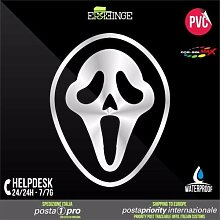 [ERREINGE] x2 STICKER PRE-SPACED argento 30cm - Ghostface Scream Horror Halloween - Aufkleber Decal Transfer Vinyl Wandaufkleber Laptop Auto Motorrad Helm Camper