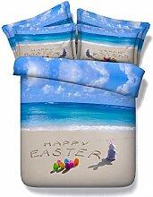 * Festival Serie reizend Kaninchen chic und Eier Betten für Ostern Ocean Blue Tagesdecke twin 3D-bettbezug Kinder nach Satz