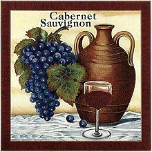 & Fliesen Deko Weintrauben Weinglas für Cabernet Sauvignon, Kachel-Design, handgefertigt in Großbritannien