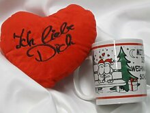 ### Geschenkset 85 - Plüsch Herzkissen Ich liebe Dich, Weihnachtsbecher Charly