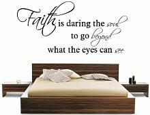 (groß) 'Faith ist Wagemutig die Seele zu Go beyong, was die Augen sehen' Wand Zitat Wohnzimmer Aufkleber Aufkleber Graphic