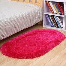 @ HOME & - minimalistische moderne Schlafzimmer voll Bett ovalen Teppich ovalen Teppich Wohnzimmer Couchtisch Teppich dickerer Stretch 3D Teppich