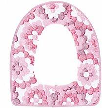 ?HuntGold 1 Stück Blumenmuster Wolle Winter Wärmer Dicke Waschbar Stoff Toilette Sitzbezug Rosa