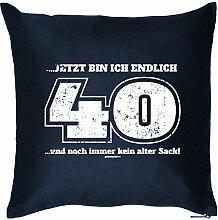 ... JETZT BIN ICH ENDLICH 40 .. und.. : Kissen mit Füllung - Witziges Zusatzkissen, 40x40 als Geschenkidee. Navy Blau