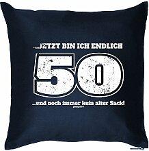 ... JETZT BIN ICH ENDLICH 50 .. und.. : Kissen mit Füllung - Witziges Zusatzkissen, 40x40 als Geschenkidee. Navy Blau