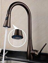 *-* Küchenarmatur Traditionell Mit ausziehbarer Brause Messing Bronze mit Ölschliff