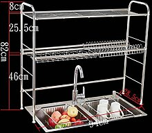 &Lagerregal 304 Edelstahl Schüssel Regal Leckage Rack Dish Racks Küche Regal Sink Put Drop Stäbchen Aufbewahrungsbox Double Layer Finishing-Rack ( ausgabe : C , größe : 94*28.5*82CM )
