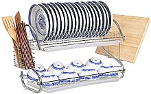 &Lagerregal Dish Rack Bowl Regal Küche Regal Double Layer Dish Racks Drain Rack Tableware Incorporated Supplies Schrank Landung Regal Finishing-Rack ( Farbe : H , größe : 58*24*38CM )