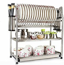 &Lagerregal Dish Rack Edelstahl Eingebaut Ein Schrank Geschirr Drain Rack Küchenutensilien Drei Ebenen Home Dripping Leckage Shelf Filter Out Set Die Scheibe Finishing-Rack ( Farbe : C , größe : 45*27*57CM )