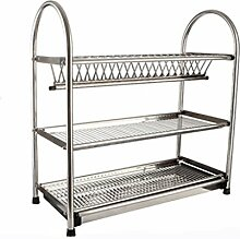 &Lagerregal Dish Rack Edelstahl Eingebaut Ein Schrank Geschirr Drain Rack Küchenutensilien Drei Ebenen Home Dripping Leckage Shelf Filter Out Set Die Scheibe Finishing-Rack ( Farbe : A , größe : 55*27*57CM )