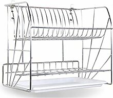 &Lagerregal Dish Rack Edelstahl High End Doppelte Reifen Wand Hängeschale Regal Leckage Rack Küche Regal Wand Teller Racks 40,8 * 25,6 * 35,7CM Finishing-Rack ( ausgabe : A , größe : 40.8*25.6*35.7CM )