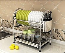 &Lagerregal Dish Rack Edelstahl Küche Regal Lagerung Rack Dish Racks Drain Home Supplies Put Bowl Tray Leckage Rack 2Tire Finishing-Rack ( ausgabe : D , größe : 55.5*28*45.2CM )