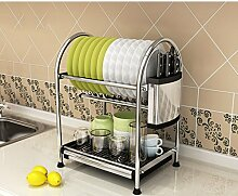 &Lagerregal Dish Rack Edelstahl Küche Regal Lagerung Rack Dish Racks Drain Home Supplies Put Bowl Tray Leckage Rack 2Tire Finishing-Rack ( ausgabe : A , größe : 40.5*28*45.2CM )