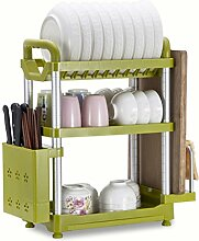 &Lagerregal Schüssel Regal 3 Ebenen Küche Regal Landung Multifunktions Teller Rack Geschirr Racks Küchenzubehör 49.7 * 22.2 * 53.5CM Finishing-Rack ( Farbe : Grün , größe : 49.7*22.2*53.5CM )