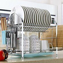 &Lagerregal Schüssel Regal Geschirr Ablass Rack Küche Home Messer Regal Filter Wasser Dish Racks Stäbchen Cross Plate Frame Landung Wand hängen 41,2 * 27,8 * 34.1CM Finishing-Rack ( Farbe : Blau , größe : 41.2*27.8*34.1CM )