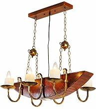 %Lampe Massivholz-Kronleuchter, Boot aus Holz