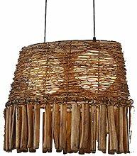 %Lampe Massivholz Pendelleuchten, Retro Wohnzimmer