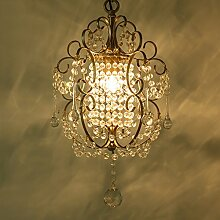@Leuchter Retro Eisen Kristall LED Kronleuchter