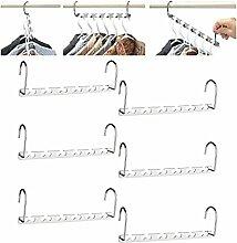 [Neue Version] Cymax 6-Stück Metall platzsparende Raumsparbügel Kleiderbügelhalter Mehrfachkleiderbügel - Magic Kleiderbügel Garderobe Organizer ,Silbern