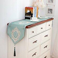 [nordeuropa] Leinen Rechteck [esstisch] Tischläufer ,Tv-schrank Europäischer stil Wohnzimmer Stoffschuhen kabinett Staubdichte abdeckung -B 13x87inch(32x220cm) Tischläufer