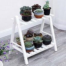 &Pflanzenregale Blumentopf-Rack, 2 Tiered Flower Racks mit Rad Balkon Landung Holz Regal Rechteck Multifunktions Regal Dekorative Blumentöpfe ( Farbe : Weiß , größe : 60*32*40CM )