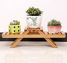 &Pflanzenregale Blumentopf-Rack, 2 Tiered Flower Racks mit Rad Balkon Landung Holz Regal Rechteck Multifunktions Regal Dekorative Blumentöpfe ( größe : 49*15*16.5CM )