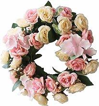 [Pink-2] Künstliche Kranz Hanging Garland Tür Kranz Hochzeit Dekor