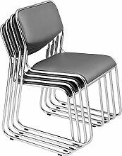 [pro.tec] 4x Besucherstühle (grau - gepolstert)(im Sparpaket) Konferenzstuhl / Stuhl / Bürostuhl / Stuhl / Wartezimmer - Stuhl