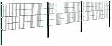 [pro.tec]® Doppelstabmattenzaun - 6 x 0,8 m - Eisen Gartenzaun Metallzaun Set (grün)