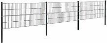 [pro.tec]® Doppelstabmattenzaun - 6 x 0,8 m - Eisen Gartenzaun Metallzaun Set (grau)