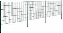 [pro.tec]® Doppelstabmattenzaun - 6 x 1,2 m - Eisen Gartenzaun Metallzaun Set (grün)