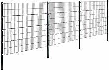 [pro.tec]® Doppelstabmattenzaun - 6 x 1,6 m - Eisen Gartenzaun Metallzaun Set (grau)