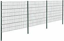 [pro.tec]® Doppelstabmattenzaun - 6 x 1,6 m - Eisen Gartenzaun Metallzaun Set (grün)