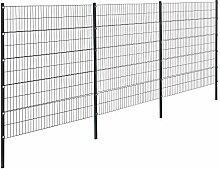 [pro.tec]® Doppelstabmattenzaun - 6 x 2 m - Eisen Gartenzaun Metallzaun Set (grau)