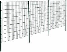 [pro.tec]® Doppelstabmattenzaun - 6 x 2 m - Eisen Gartenzaun Metallzaun Set (grün)
