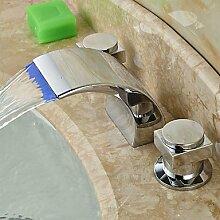 &qq Waschbecken Wasserhahn,Zeitgenössische verbreitet LED / Wasserfall mit Keramik Ventil zwei Griffe drei Löcher für Chrome, Bad Wasserhahn Waschbecken