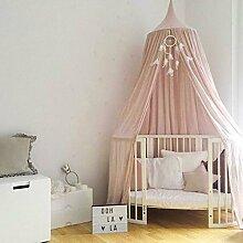 • RENZE Moskitonetz Baldachin, Prinzessin Baldachin Dome Prinzessin Bett Baumwolltuch Zelte Kinderzimmer Dekorieren Für Baby Kinder Lesen Spielen Indoor Spiele Haus (Rosa)