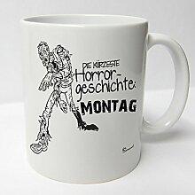 ★★Riesen Auswahl★★ Tasse Spruch Motive Fun Premium Geschenk Keramik, Original Sunnywall ® Geschenkidee (58 Montag Horror)