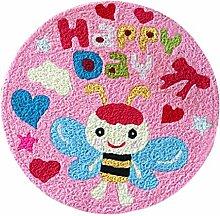 [Rosa Biene] Kinder-Schlafzimmer-Dekor-Wolldecke gestickte Matte Karikatur-Teppich,23.62x23.62 Zoll