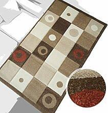 % Sale Teppich Modern Design Läufer Havanna 3D Rechteck Beige Braun Rot 80x150cm