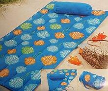★ Strandmatte Strand Decke mit Kissen Sommer Wendematte Beach 80 x 180 Blau mit Muscheln*PLT5 ★
