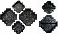 @tec Betonform Schalungsform Gießform Polypropylen (Kunststoff) - SET - Terrassenplatte/Gehwegplatte - französische Lilie Orient - SET bestehend aus 6 Formen