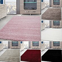 *Teppich* für Wohnzimmer günstig hochflor Shaggy Teppich mit verschiedenen Farben und Größen* Teppiche werden mit 100% PP Headset hergestellt. Gesamthöhe des Teppichs circa 30 mm. , Größe:160x230 cm, Farbe:Schwarz