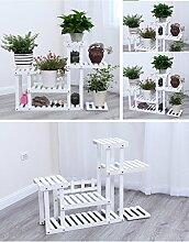 $Töpfe Pflanz Blumentopf Rack, Multilayer Blütenständer mit Rad Balkon Landung Holz Regal Rechteck Multifunktions Regal ( Farbe : White#1 )