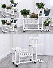 $Töpfe Pflanz Blumentopf Rack, Multilayer Blütenständer mit Rad Balkon Landung Holz Regal Rechteck Multifunktions Regal ( Farbe : White#2 with wheel )