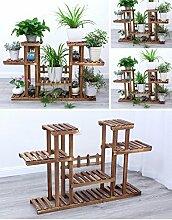 $Töpfe Pflanz Blumentopf Rack, Multilayer Blütenständer mit Rad Balkon Landung Holz Regal Rechteck Multifunktions Regal ( Farbe : Braun , größe : 109*25*72CM )