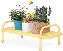 $Töpfe Pflanz Blumentopf Rack, Single Layer Blütenständer Balkon Landung Eisen Netz Regal Rechteck Multifunktions Regal ( Farbe : Gelb , größe : 60*23*20CM )
